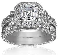 Platinum-Plated Sterling Silver Swarovski Zirconia Wedding ...