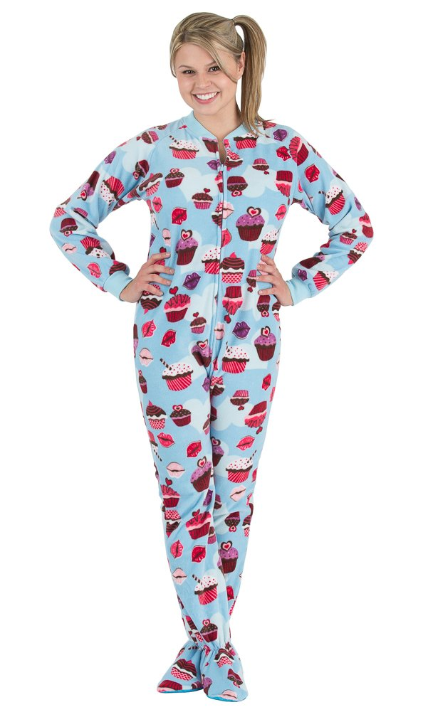 Footed Pajamas Blue Cupcakes Adult Fleece