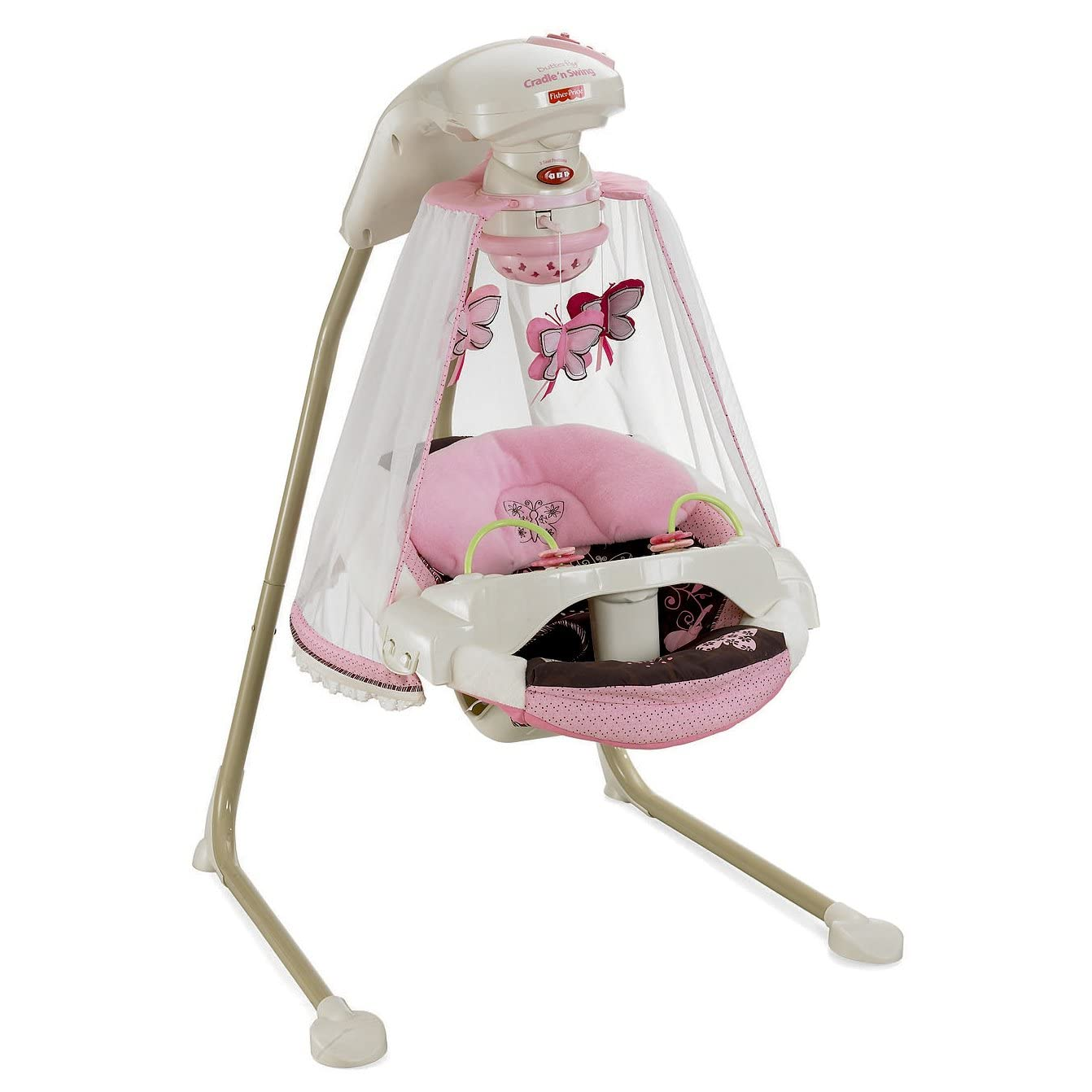 baby chair swing pink doll hair salon fisher price butterfly mocha mobile papasan