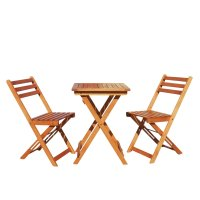 Vifah V1381 Outdoor Wood Folding Bistro Set with Square ...