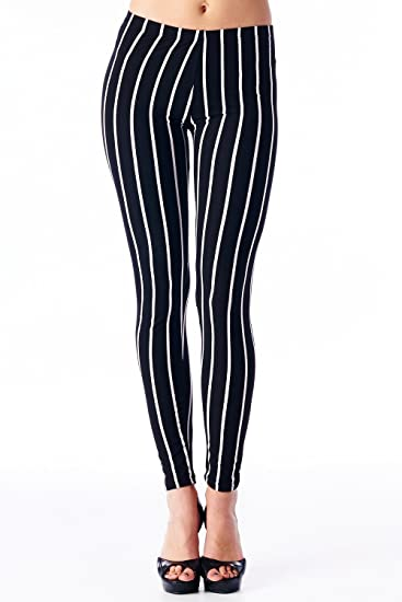 VIV Collection Women's High Quality Printed Leggings (L Stripe)
