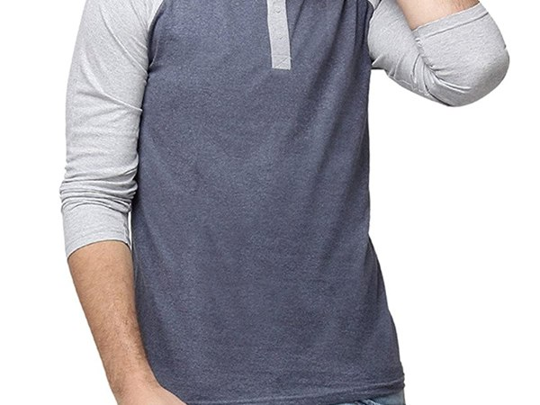 Campus Sutra Men Full Sleeve Henley Neck T-Shirts