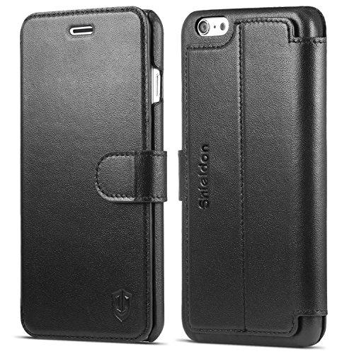 iPhone6s Plus ケース / iPhone 6 Plus 手帳型ケース SHIELDON® アイフォン6s プラス / 6 プラス 本革レザーカバー カード入れ スタンド マグネット留め具付き スリム 薄型 ブラック