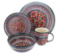 Amazon.com | Polish Pottery Jungle Flower 4 Piece Dinner ...