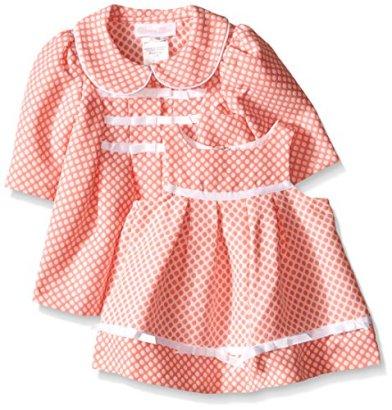 Bonnie-Baby-Baby-Girls-Check-Jacquard-Ribbon-Trim-Dress-and-Coat-Set