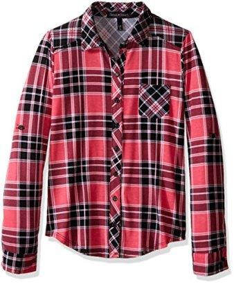Derek-Heart-Girls-Big-Girls-Long-Sleeve-Twin-Plaid-Shirt-with-Front-Pockets-Hot-Pink-m1012