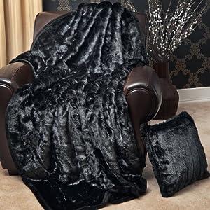 Amazoncom Faux Fur Throw Blanket 58quot x 84quot Black Mink