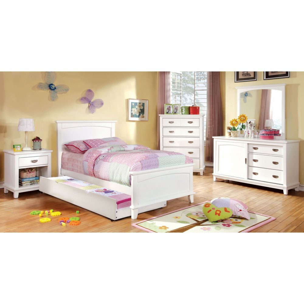 Furniture of America Alana Inspired 4-Piece Bedroom Collection -, White, Metal, Twin