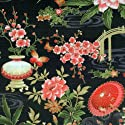 Fat Quarter Mariko Japanese Garden Black Cotton Quilting Fabric - Blank Quilting