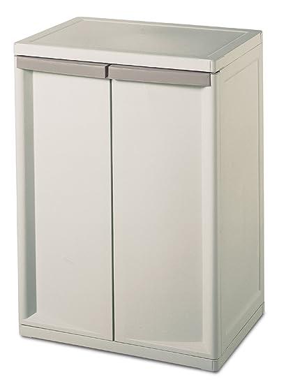 Sterilite 01408501 2-Shelf Base Cabinet with Putty Handles, Platinum