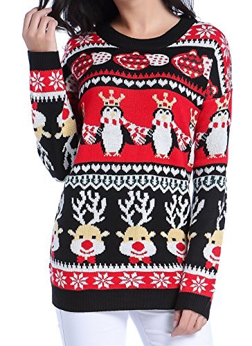 Women Christmas Sweater, V28 Ugly Cute Vintage Knit Xmas Vest Pullover Sweater