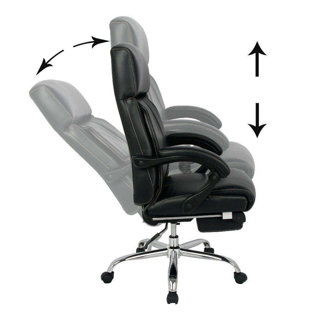 ergonomic chair with footrest deck glides reclining office high back bonded leather
