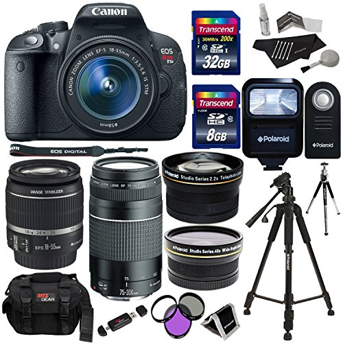 0 mp digital slr camera bundle,43x hd wide angle lens 2,2x high definition telephoto lens,canon eos rebel t5i 18,canon ef 75-300mm f/4-5,(VIDEO Review) Canon EOS Rebel T5i 18.0 MP Digital SLR Camera bundle with 18-55mm STM Lens, Canon EF 75-300mm f/4-5.6 III Lens, Polaroid .43x HD Wide Angle Lens 2.2X High Definition Telephoto Lens, 40,
