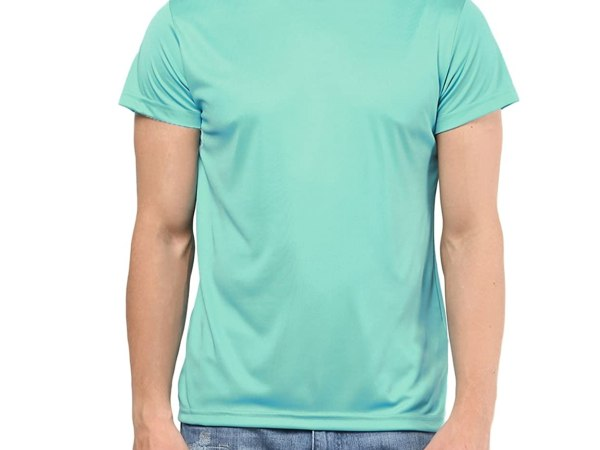 American Crew Men's Round Neck Sports T-Shirt (Turquoise Blue)
