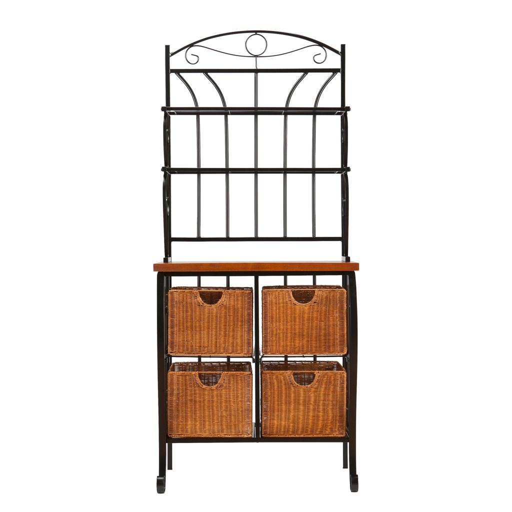 bakers racks for kitchen sanding and restaining cabinets amazon sei iron wicker baker 39s rack free standing