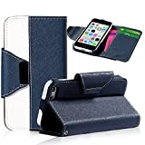 myLife Dark Royal Navy Blue and White {Classic Design} Faux Leather (Card, Cash and ID Holder + Magnetic Closing + Hand Strap) Slim Wallet for the iPhone 5C Smartphone by Apple (External Textured Synthetic Leather with Magnetic Clip + Internal Secure Snap In Hard Rubberized Bumper Holder)