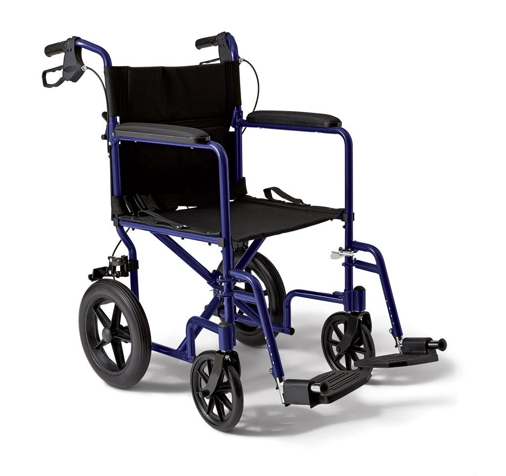 wheelchair transport chair stand rubber amazon medline with brakes blue