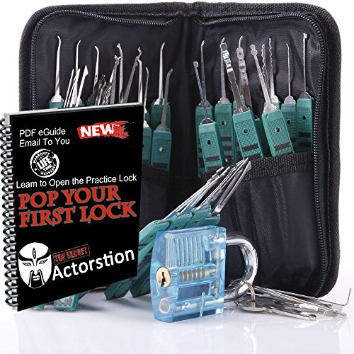 Actorstion-32-Piece-Lock-Pick-Extractor-Set-for-Beginners-with-Leather-Packing-Scissors-Transparent-Blue-Padlock-for-Unlocking-Practice