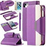 iPhone 5S Case, Pandamimi ULAK PU Leather Wallet Case for Apple iPhone 5S 5 5G- AT&T Type Magnet Design Flip Stand Case Cover , T Mobile, Sprint, with / Wrist strap+Screen Protector+ Touch Stylus (Purple +White)