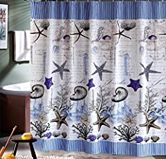 Eforgift Sea Pattern Fabric Shower Curtain Waterproof,Non-mildew Bathroom Curtain for Kids, 60-Inch by 72-Inch,Blue/white