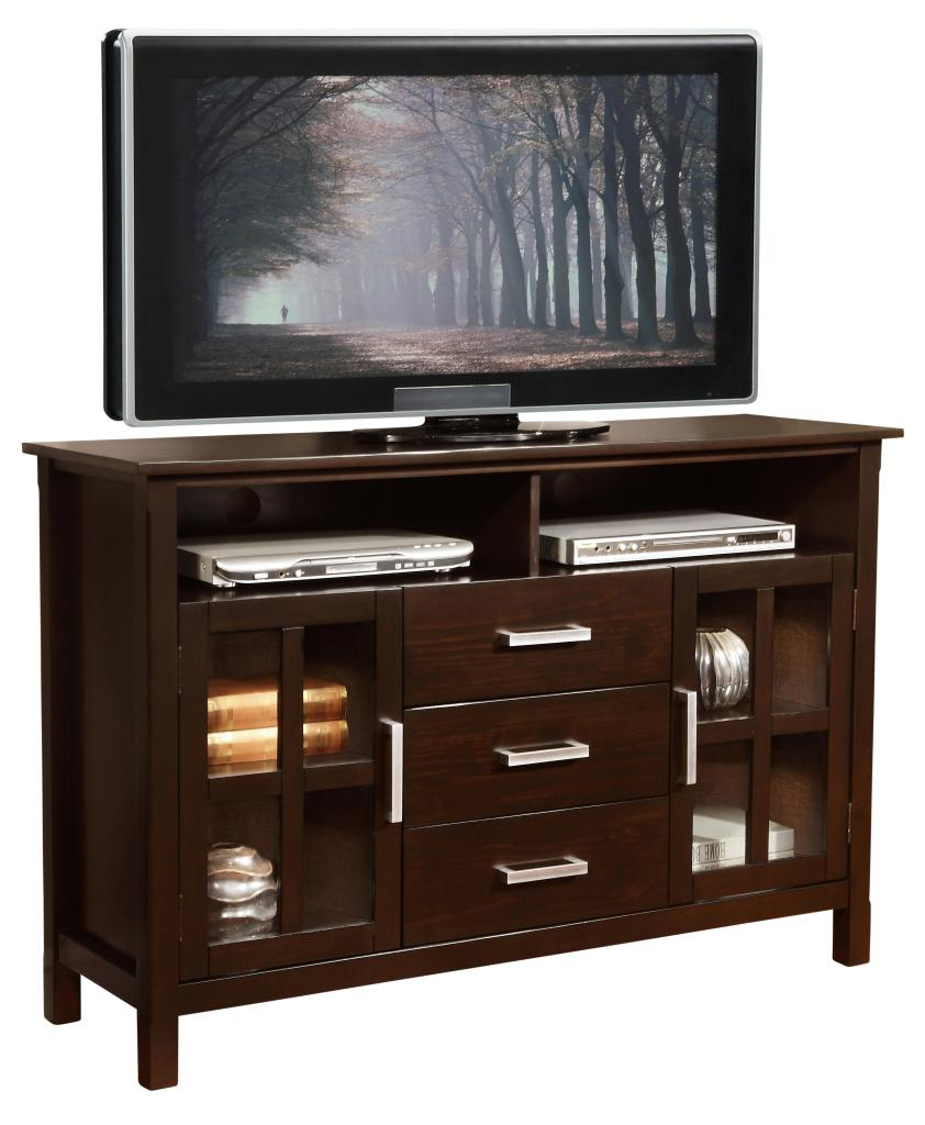 Amazoncom  Simpli Home Kitchener Tall TV Stand 53W x 35H Dark Walnut Brown  Home