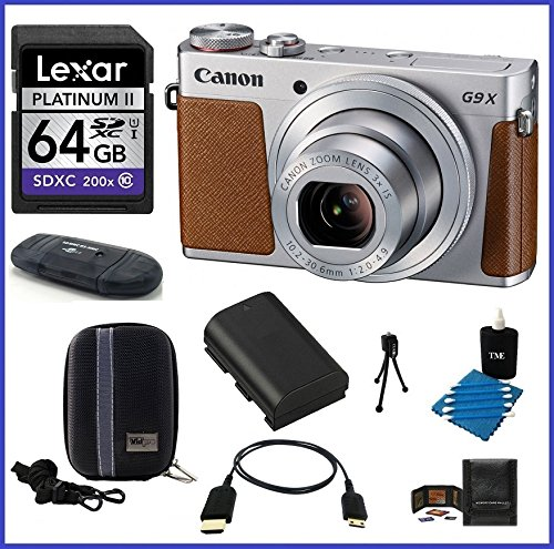 Canon PowerShot G9 X Digital Camera (Silver) Pro Bundle includes: 64GB SDXC Class 10 Memory Card, Card Reader, Case, Spare Battery & more...