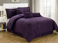 Luxurious 7-Piece Comforter Set King Size Bedding Purple ...