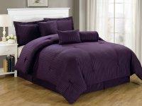 Luxurious 7-Piece Comforter Set King Size Bedding Purple ...