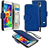 myLife Duke Blue - Classic Design - Koskin Faux Leather (Card, Cash and ID Holder + Magnetic Detachable Closing + Hand Strap) Slim Wallet for NEW Galaxy S5 (5G) Smartphone by Samsung (External Rugged Synthetic Leather With Magnetic Clip + Internal Secure Snap In Hard Rubberized Bumper Holder)