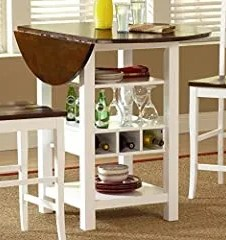 Bernards Ridgewood Drop Leaf with Wine Rack Table, White and Mahogany Finish
