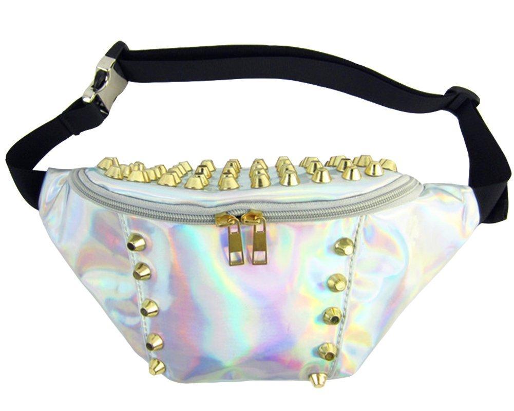 Fashion Hologram Laser Pu Leather Stylish Fanny Pack Bum Bag Purse Waist Bag for EDM Parties