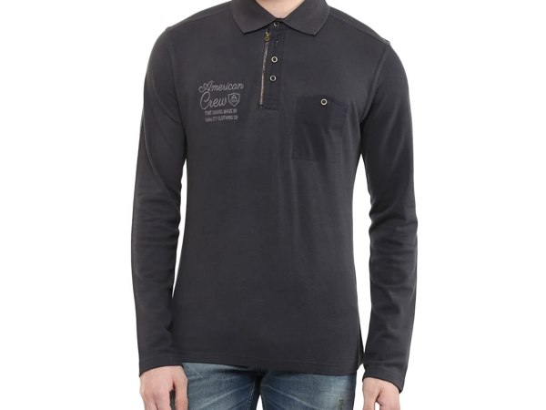 American Crew Men's Polo Solid Full Sleeve T-Shirt
