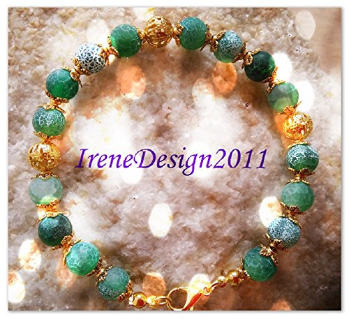 Green Frosted Vein Agate & Gold Bracelet
