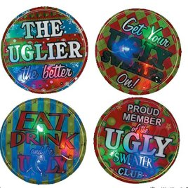 Ugly Christmas Sweater Accessory Must Have! Set of 4 Ugly Sweater Light-Up Badges!