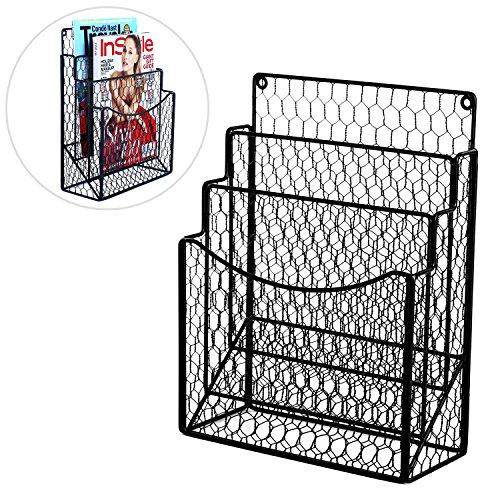 MyGift Black Chicken Wire Magazine Rack, Wall Mount 3 Slot