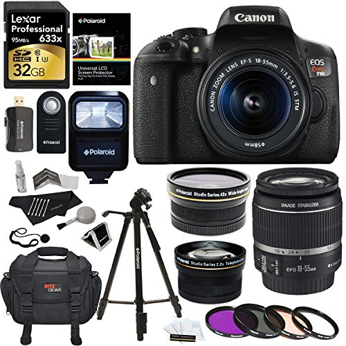 "Canon EOS Rebel T6i 24.2 MP Digital SLR Camera with 18-55mm f/3.5-5.6 STM Lens + Polaroid HD .43x Wide Angle & 2.2X Telephoto Lens + Lexar 32 GB + 57"" Tripod + 58mm Filter Kit + Bag + Accessory Bundle"