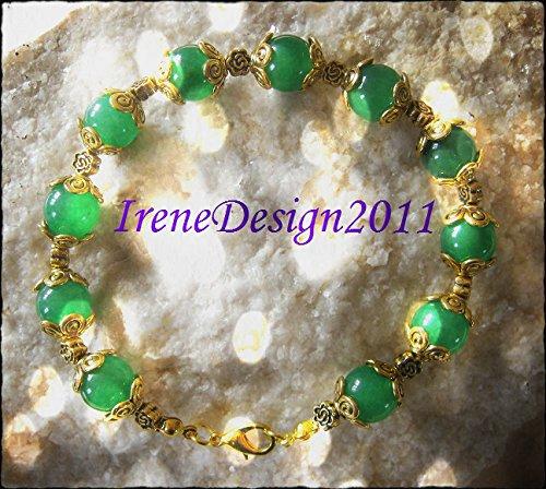 Green Jade & Roses Bracelet