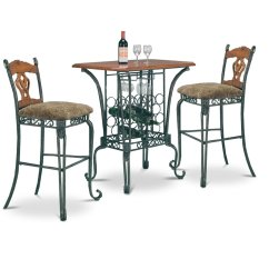 Pub Table And Chairs 3 Piece Set 2 Xxl Wheelchair Bar With Wine Rack Base