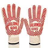 The Best BBQ & Oven Gloves Withstand Heat Up To 662F - Top Quality Heat Resistant Grill Gloves With 5 Fingers, Non-Slip Silicone Grip - Great In The Kitchen as Oven Mitts or Pot Holders - Perfect for Outdoor Cooking and Grilling - Safest Heatproof Barbecue Gloves - Satisfaction Guaranteed!