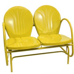 Yellow Rocking Chair Grey Modern Armchairs Sunshine Retro Metal Tulip Double Glider