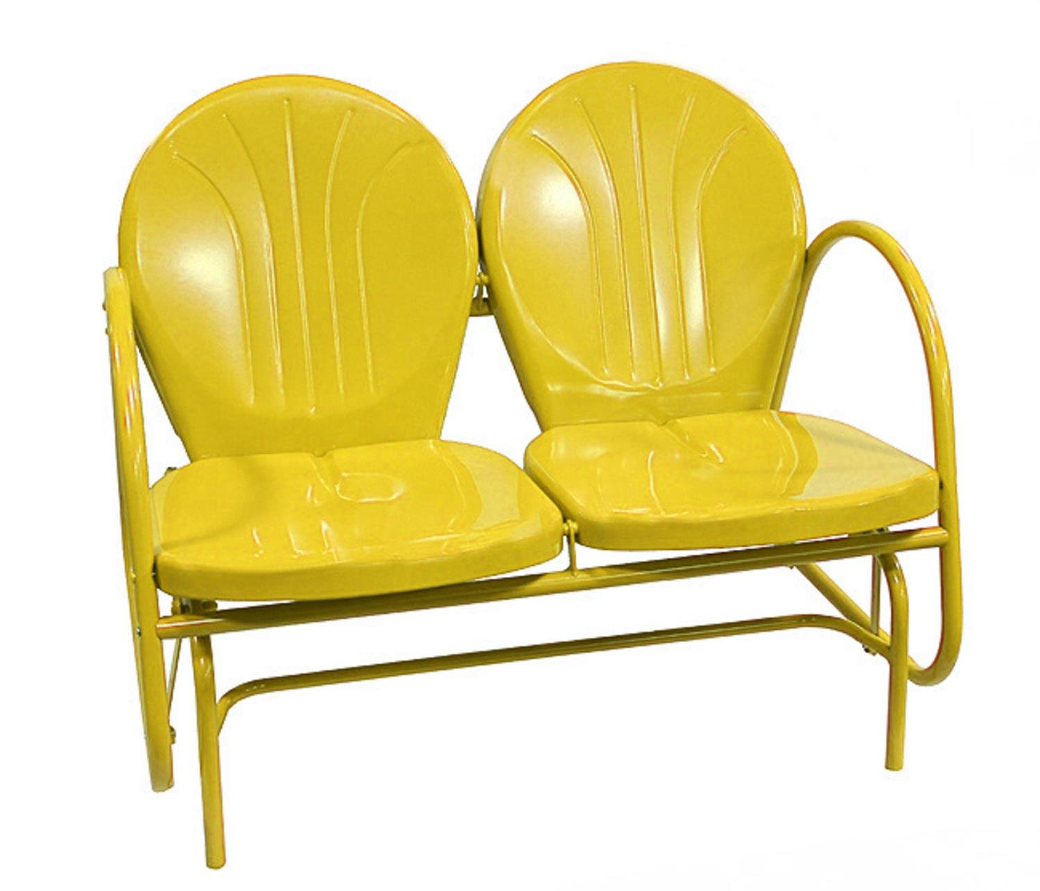 Yellow Metal Chairs Sunshine Yellow Retro Metal Tulip Double Glider