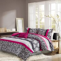 Girls Bedding Set Kids Teen Comforter Pink Black White ...