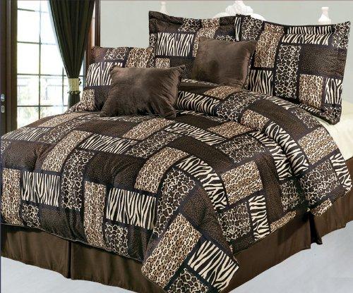7 piece queen safari brown patchwork micro suede comforter set compare price cuisinart f1