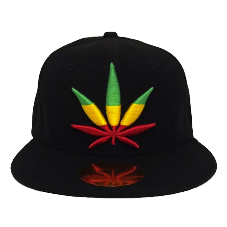 Rasta Marijuana Pot Leaf Weed Canabis Embroidered Flat Bill Snapback Cap