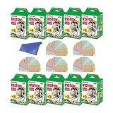 Fuji-Instax-Mini-Instant-Film-with-Microfiber-Cleaning-Cloth-and-100-Pieces-Sticker-for-Fuji-Mini-90-8-70-7s-50s-25-300-Camera-SP-1-Printer