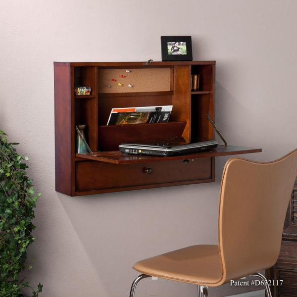 Sei Wall Mount Laptop Desk Brown Mahogany
