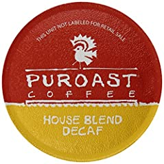 Puroast Low Acid Coffee Single Serve Keurig Compatible, Decaffeinated House Blend, 12 Count