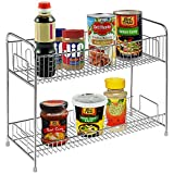 Stainless Steel 2 Tier Spice Jars / Condiment Bottles / Canned Food Shelves Pantry Storage Rack Stand