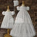 Baby Girls White Silk 4 PC Bonnet Slip Christening Gown Set 3M-6M
