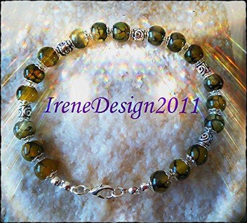Vein Agate & Silver Roses Bracelet